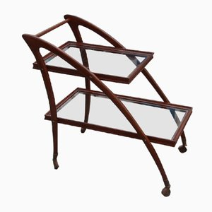 Mid-Century Italian Curved Wooden Bar Cart by Cesare Lacca, 1950s