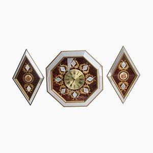 Juego de reloj de pared hexagonal con espejos en forma de rombos, años 60
