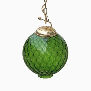 Lámpara colgante esférica de cristal de Murano verde de Venini, años 50