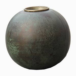 Art Deco Ball Vase aus Messing von Gio Ponti für Nino Ferrari