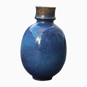 Vaso rotondo in ceramica blu di Ernestine, anni '60