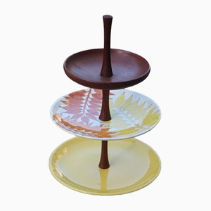 Ceramic and Mahogany Cake Stand from Ernestine, 1960s