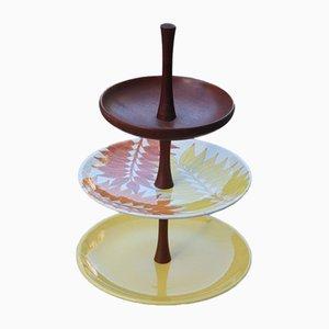 Soporte para tartas de cerámica y caoba de Ernestine, años 60