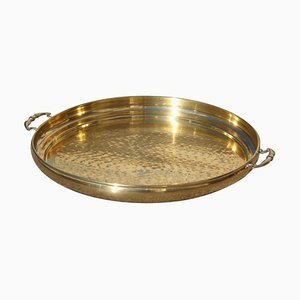 Italian Hand-Hammered Brass Tray, 1970s