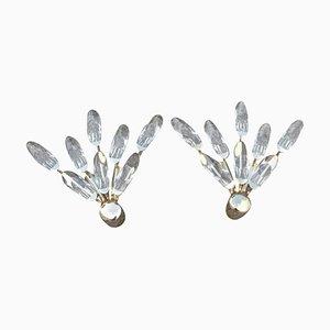 Applique in cristallo e placcate in oro di Stilkronen, anni '70, set di 2