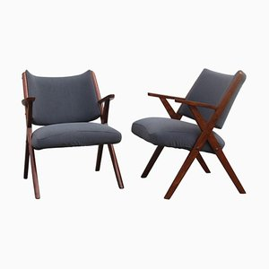 Mid-Century Modern Wood Armchairs from Dal Vera, 1950s, Set of 2