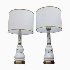 Lámpara de mesa de vidrio opalino, años 60. Juego de 2