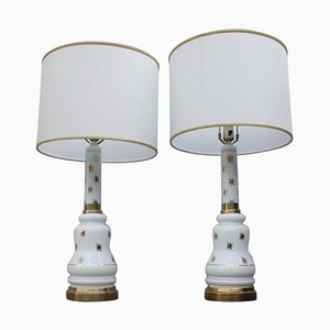 Opaline Glass Table Lamp, 1960s, Set of 2