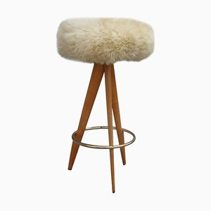 Mid-Century Modern Sheepskin, Wood, and Brass Stool