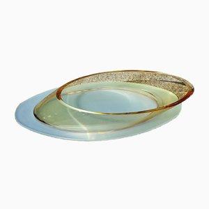 Große gelbe ovale Vintage Kristallglasschale, 1980er