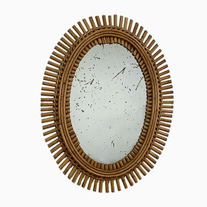 Oval French Bamboo and Rattan Wall Mirror, 1960s