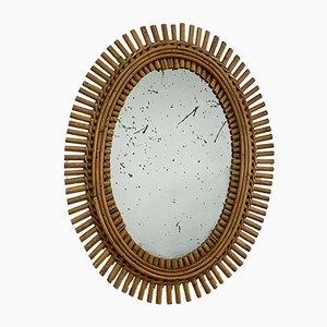 Specchio a muro ovale in bambù e vimini, anni '60