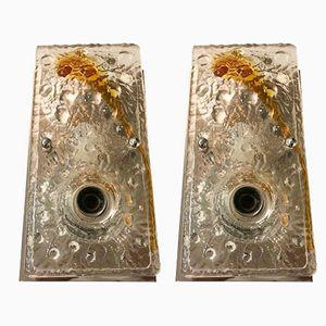 Apliques Mid-Century de cristal de Murano de Mazzega, años 70. Juego de 2