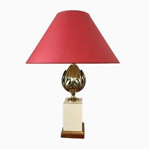 Lampe mit Fuß aus Messing in Pfingstrosen-Optik, 1980er