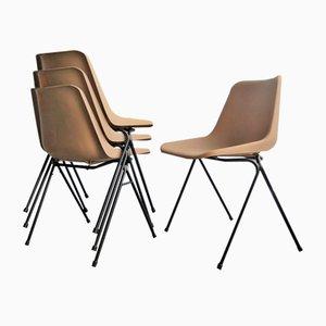 Sedie impilabili in metallo nero e plastica, anni '70, set di 4