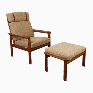 Sessel mit Gestell aus Teak & Fußhocker von Sven Ellekaer für Komfort, 1970er