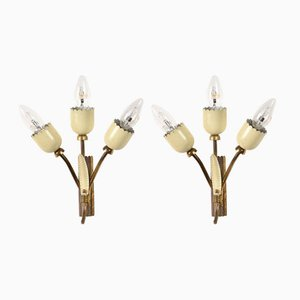 Mid-Century Italian Enamel and Brass Wall Lights, Set of 2