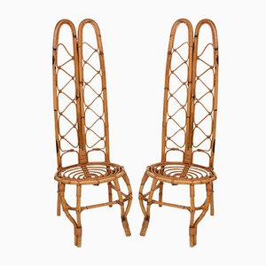 Sillas francesas de ratán y bambú, años 60. Juego de 2