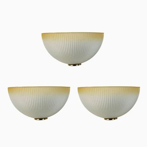 Italian Murano Glass & Brass Wall Lights, 1960s, Set of 3