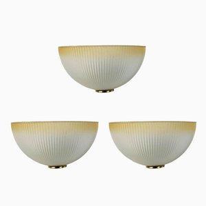 Italienische Wandlampen aus Muranoglas & Messing, 1960er, 3er Set