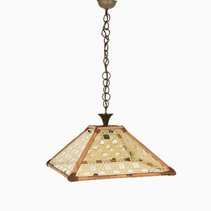 Textured Glass, Rattan, Bamboo & Brass Pendant, 1970s