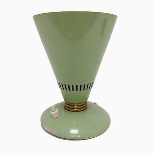Italian Green Lacquered Metal & Brass Conical Table Lamp, 1950s