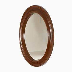 Specchio rotondo con cornice in legno laccato, Italia, anni '70