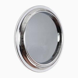 Round Smoked Glass & Chrome Mirror, 1960s