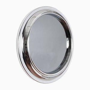 Specchio rotondo in vetro fumé e metallo cromato, anni '60