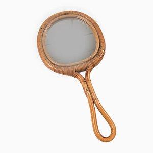 Specchio a mano rotondo in vimini, anni '60