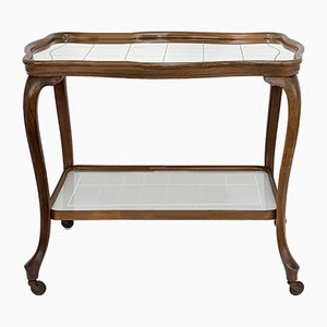 Louis XV Style Oak Bar Trolley with Mirror Top, 1930s