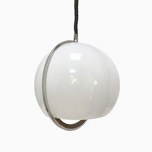 Italian Plastic, Aluminum, & Teak Hanging Lamp, 1970s