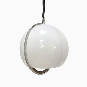 Lámpara colgante italiana de plástico, aluminio y teca, años 70