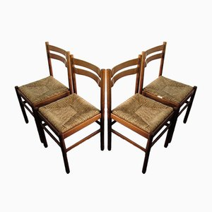 Mid-Century Modern Rush Seat Dining Chairs, Set of 4