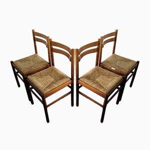 Moderne Mid-Century Esszimmerstühle mit Sitz aus Binsengeflecht, 4er Set