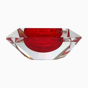 Murano Cut Glass Bowl by Flavio Poli, 1950s
