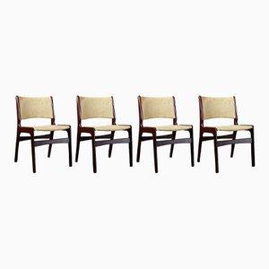 Dänische Mid-Century Modell 89 Stühle mit Gestell aus Palisander von Erik Buch, 4er Set