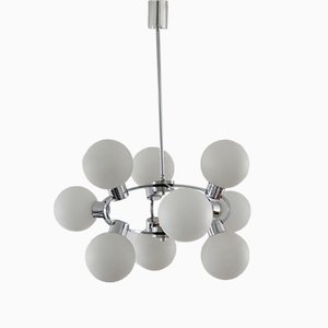 Sputnik Opaline Glass & Chrome 9-Light Chandelier, 1970s