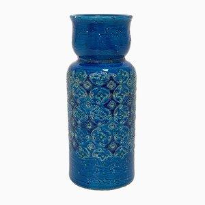 Vaso Rimini blu di Aldo Londi per Bitossi Ceramics, anni '60