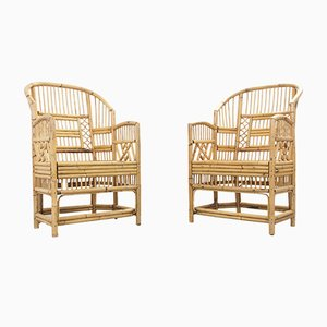 Vintage Chippendale Rattan Armchairs, Set of 2