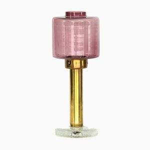 Swedish Purple Glass & Brass Candle Holder from Östlings Gnosjö, 1960s
