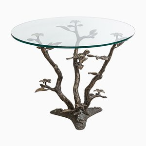 Brass Tree & Birds Coffee Table by Willy Daro, 1970s