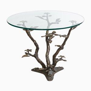 Mesa de centro con base en forma de árbol de latón de Willy Daro, años 70
