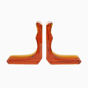 Vintage Amber Glass Bookends, Set of 2