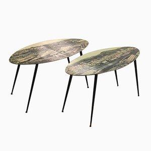 Tables Basses à Imprimé Photo Mid-Century, Set de 2