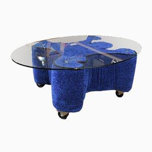 Pop Art Style Wood & Blue Velvet Coffee Table, 1980s