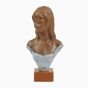 Busto de mujer vintage de terracota de Paul Serste, años 50