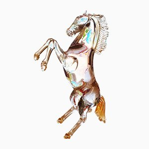 Clear & Golden Glass Horse from Zanetti, 1995