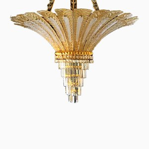 Golden Opaline Glass and Gilded Chandelier from Mazzega, 1990s