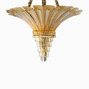 Lampadario in vetro ed ottone dorato di Mazzega, anni '90